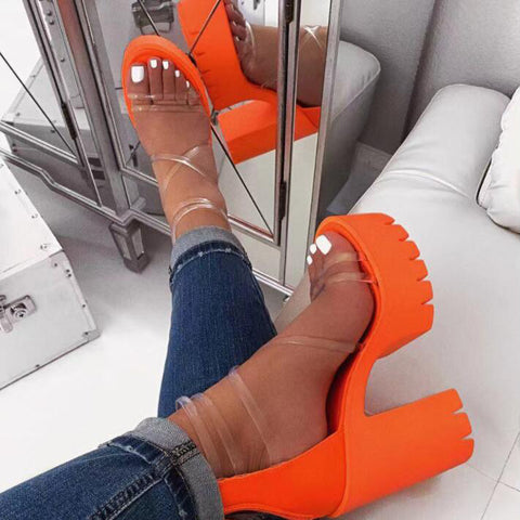 New Women Shoes High Heel Sexy Square Heel Pumps Party Dress Ladies Shoes Peep Toe Transparent Casual Shoe Woman