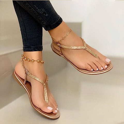 Women's Sandals  Fashion Rhinestone Fat Bottom Female Clip Toe Shoes Outdoor Beach Ladies Sandal Woman New