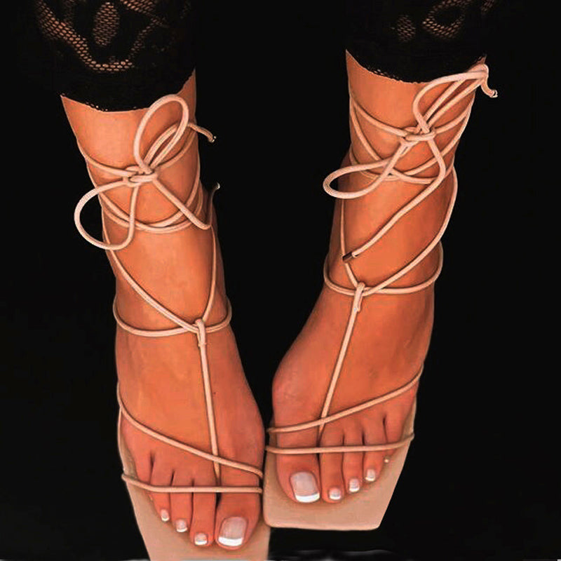 Gladiator Sandals Women Ankle Cross Strap High Heels Shoes Women Sandals Square Toe Sexy Party Ladies Shoes