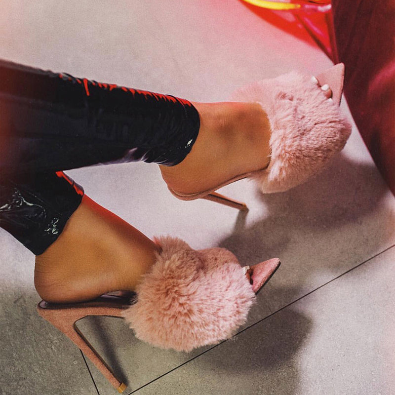 Station Sandals Candy Color Luxury Rabbit Fur High Heel Sandals Slippers Femme Evening Party Women Shoes