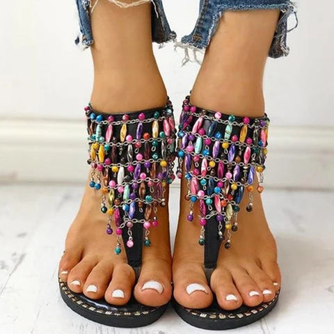 Women Flat Sandals Shoes Thong Flip Flops Sandals Rhinestone Beach Sandalias Peep-toe Female Sandalias