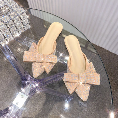 Half Slippers Women Wearing Outside In New Fashion Flat Pointed Rhinestone Mules Shoes Bow Slippers