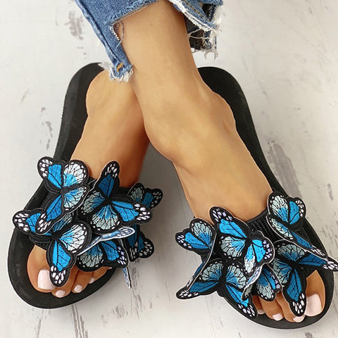 Women's Fashion Slippers Butterfly Decorate Anti Slip Wedge Slides Indoor Outdoor Thong Platform Slippers Flip Flops