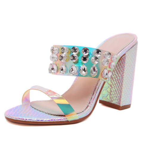 New Women Shoes Rainbow Snake Print Clear Jewel Mules Peep Toe High Heels Sandals Party Dress Shoes Sandals Pumps