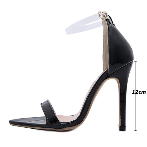 Sexy Women Sandals Rhinestone Metal Snake Decoration High Heels Black Party Pumps Open Toe Cover Heel Shoes New