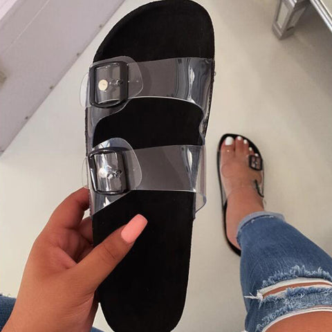Woman Flat Slippers Transparent Plastic Soft Jelly Shoes Female Belt Bukle Flip Flops Women Outdoor Beach Ladies Slides