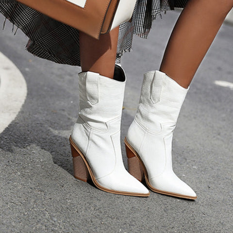 Warm Boots Short Boots Party Dancing Shoes Chunky Heels Big Leather Ankle Boots