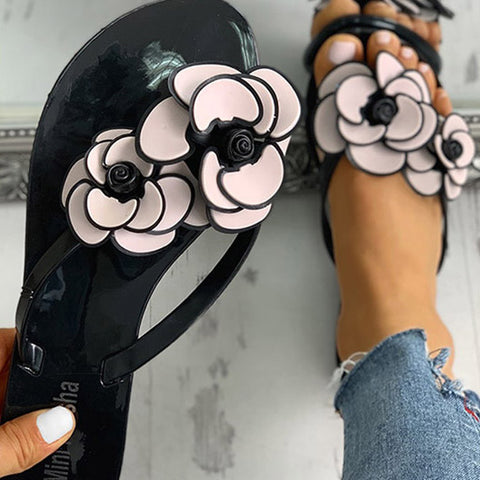 Women's Slipper Flat Flowers Outdoor Non-slip Wear-resistant Beach Shoes Flip Flops Women Sandals