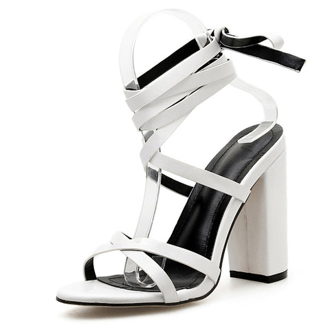 New Ankle Strap Women Sandals Tall Knee High Cross Tied Square Heel Party Women Sandals