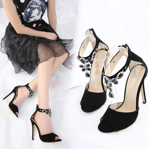 Rhinestone Ankle Strap Women Fashion Peep Toe Sandals High Heels Shoes