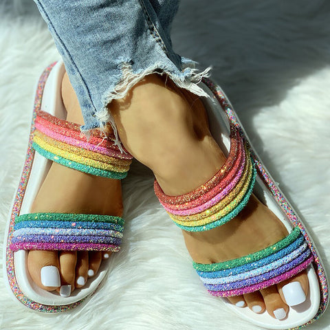 Female Slippers Woman Flat Slides Casual Bright Rainbow Slippers Indoor Home Shoes Outdoor Beach Flip Flops Women Slides