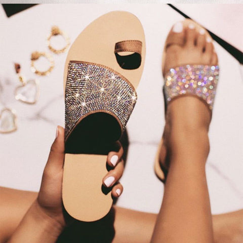 Slippers Ladies Clip Top Crystal Glitter Beach Slides Ladies Bling Sandals Flats Flip Flop Casual Shoes