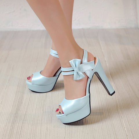 Sandals Female New High-heeled Fish Mouth Shoes Bow Sexy Rough With Waterproof Platform Roman Women's Shoes