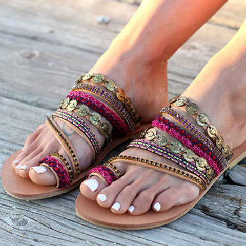Shoes Woman Handmade Wind Flat Sandals Women's Shoes