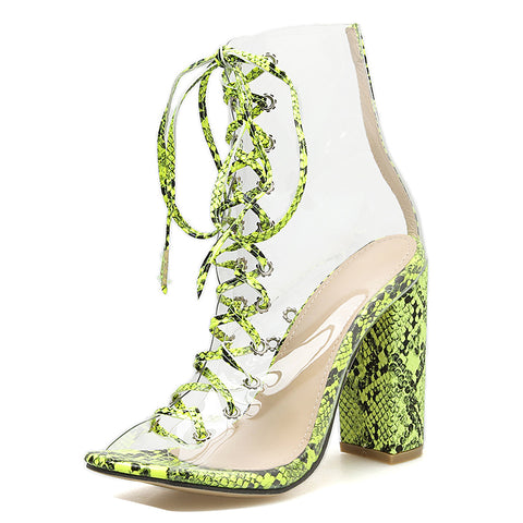 Novelty Pvc Women Boots Serpentine Transparent Peep Toe Lace-up Shoes Dance Square High Heel Ankle