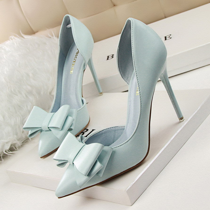 Fashion Delicate Sweet Bowknot High Heel Shoes Side Hollow Pointed Women Pumps Pointed Toe Thin Dress Shoes