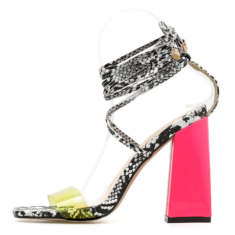 Gladiator Sandals Women Open Toe Ankle Strap Lace Up High Heels Pumps Fashion Party Dress Women's Shoes