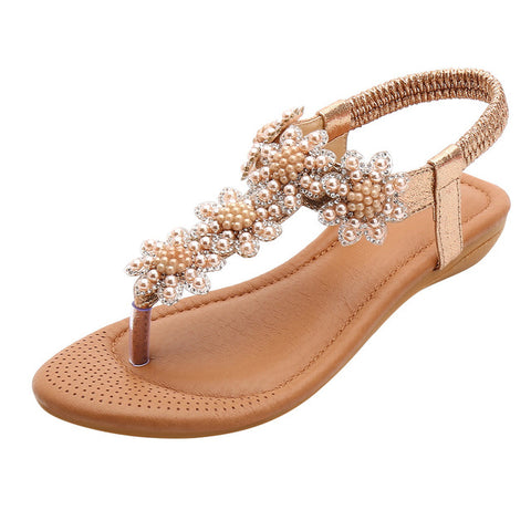 Women Ladies Beach Sandals Crystal Casual Elastic Band Flat Shoes Open Toe Shoes Woman Flip Flop