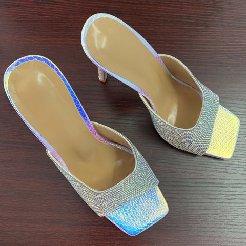 New Women Sandals Square Toe Ladies Heel Mules Sexy Thin High Heels Sandals Slippers Crystal Party Wedding Shoes Woman