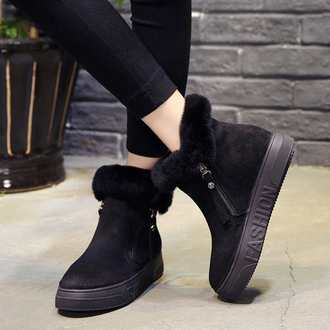 Women Zip Snow Boots Ladies Warm Fur Suede Wedge Ankle Boot Female Fashion Casual Shoes Comfort Footwear
