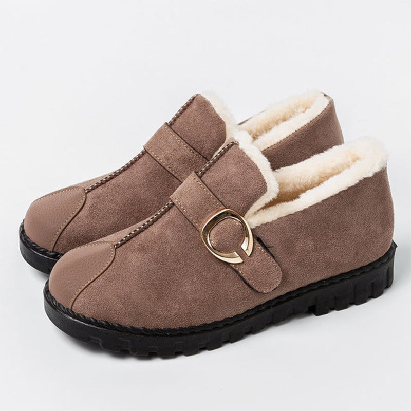 Snow Boots Warm Short Plush Moccasins Buckle Strap Slip On Flat Short Boots Fashion Comfort Shoes