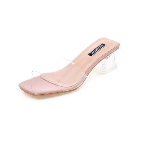 Transparent Shoes Women's Sandals Tall Transparent High Heels Informal Square High Heels