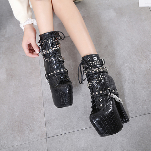 Zip Metal Chains Rivet Motorcycle Boots Women Shoes Super High Heels Platform Ankle Boots Punk Rock Gothic Biker Boots