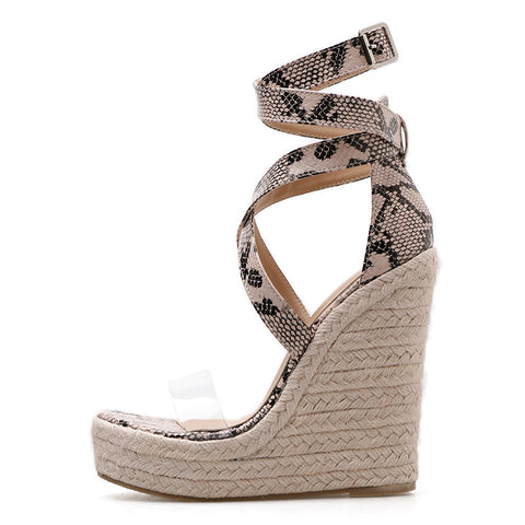 Women Platform Sandals Gladiator Fashion High Heels Wedges Espadrilles Shoes Open Toe Sandals Serpentine