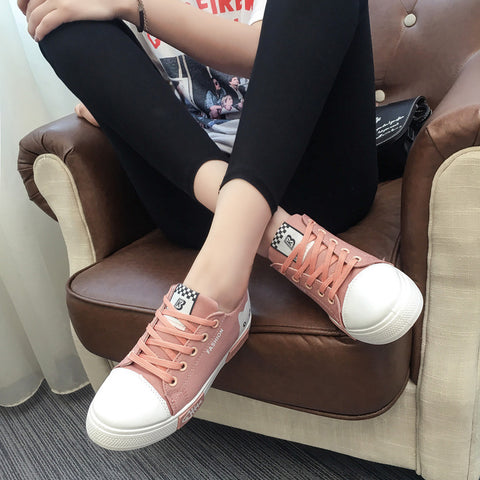 Flat Cartoon Canvas Shoes Lace Up Student Board Shoes Casual Shoes Sneakers