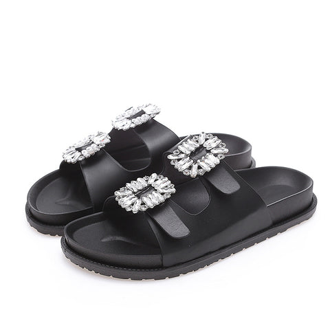 Women Flat Slides Bling Crystal Slip On Slippers Ladies Buckle Strap Shoes Woman Fashion Casual Female Beach Slipper