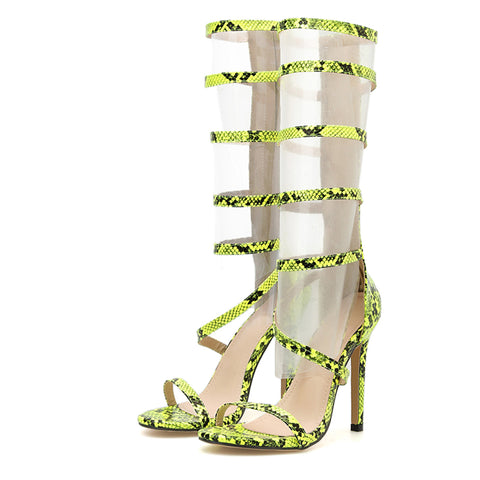 New Fashion Serpentine High Heels Open Toed Boots Sandals Pumps Zipper Party Women Boots Shoes