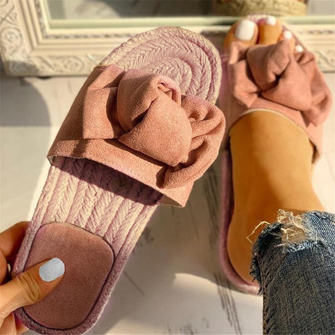 Hot Sale Women Flip Flops Fashion Solid Color Bow Tie Flat Heel Sandals Outdoor Slipper Beach Shoes Female