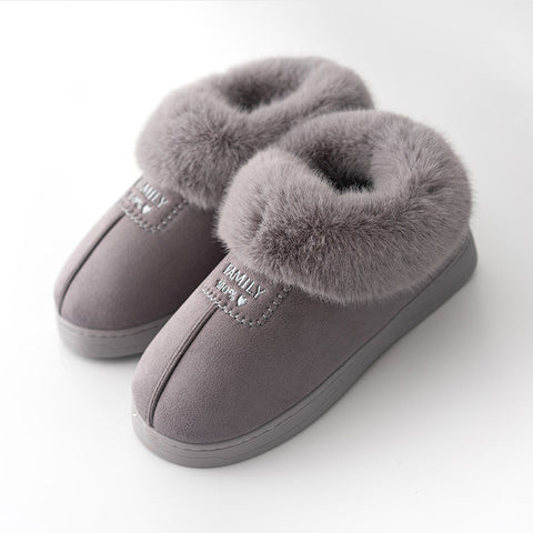 Fur Warm Shoes Indoor Slippers Soft Plush Anti-slip Lovers Home Floor Slipper Cotton Slides