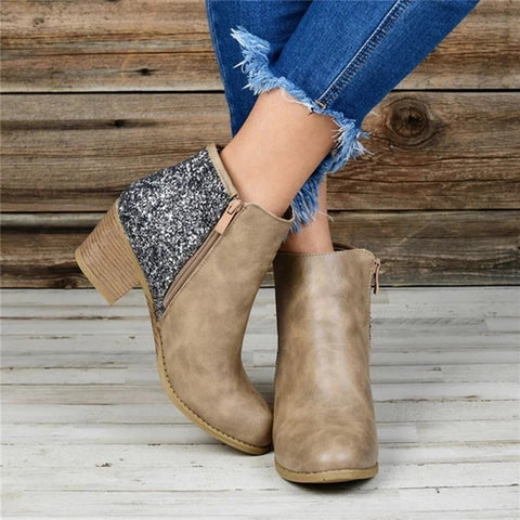 Woman Ankle Boots Ponited Toe Shoes Patchwork Sequined Booties Square Heel Shoes For Woman