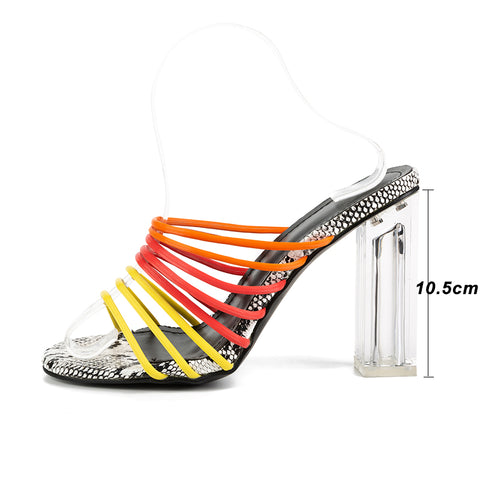 New Sexy Multi Snake Print Sandals Women Open Toed Mixed Color Transparent Block Heel Sandals Crystal Slippers Pumps