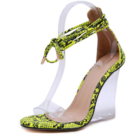 High Quality Shoes Sexy Pvc Transparent Serpentine Sandals Ankle Strap Cross Tied High Heels Wedge Women Sandals