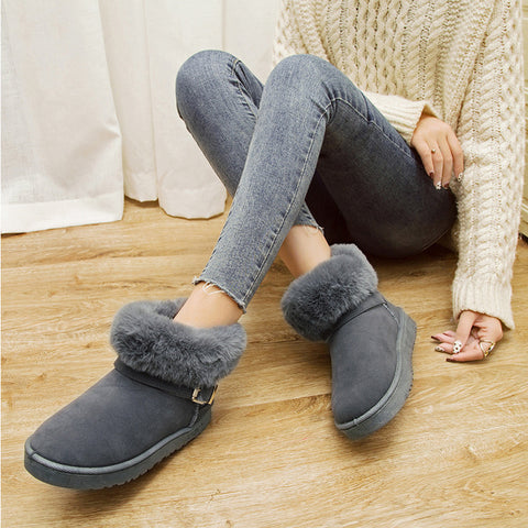 Boots Women Cow Suede Shoes For Boots Shoes New Woman Fashion Casual Warm Snow Female Ankle Boots