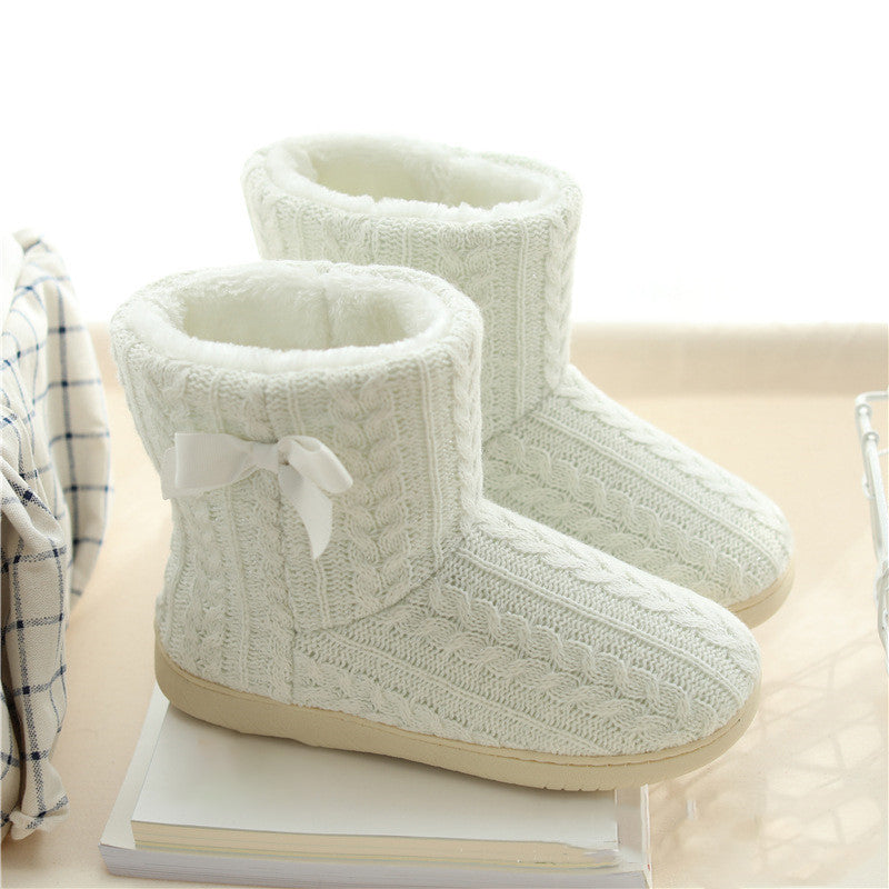 Women Ankle Boots Warm Indoor Floor Shoes Cotton Padded Short Plush Boots Ladies Thick Cashmere Bow Female