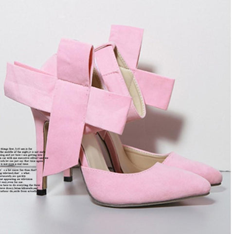 Bow Pointed Toe Fashion Women Solid Color High Heels Shoes