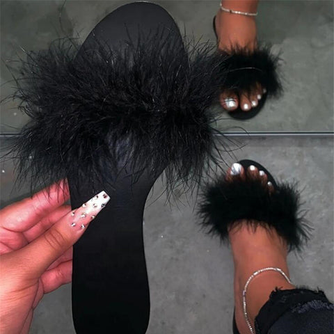 New Women's Slippers Women Shoes Fashion Furry Slipper Ladies Flat Sandals Casual Open Toe Beach Slides Female