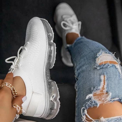 Sneakers Outdoor Lace Round Head Solid Color Casual Platform Shoes