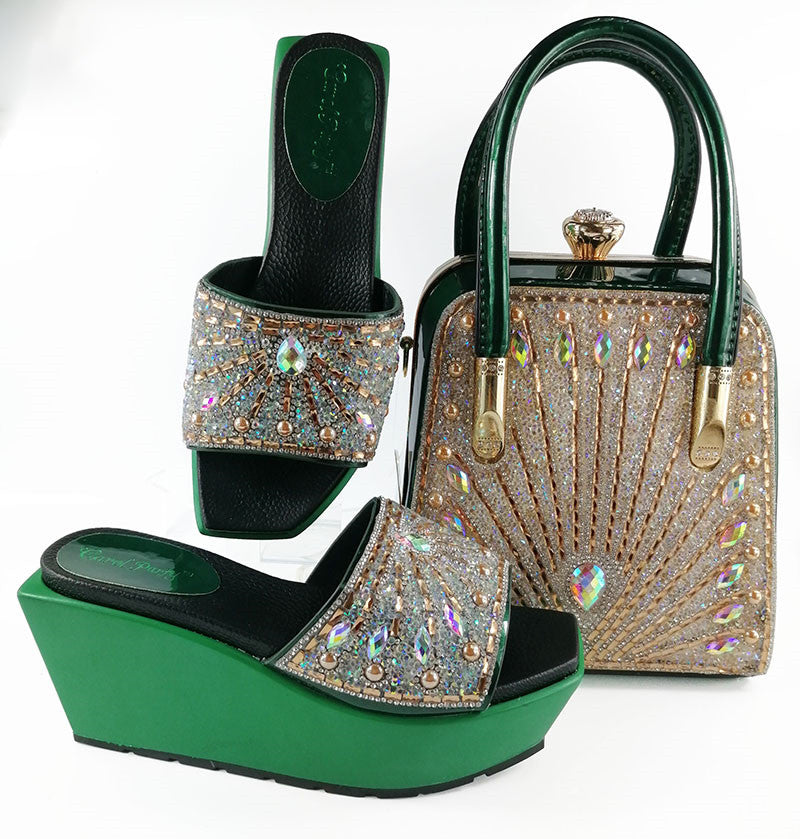 Women Shoes And Bag Set Design Shoes And Bags To Match Decorated With Rhinestone Wedding
