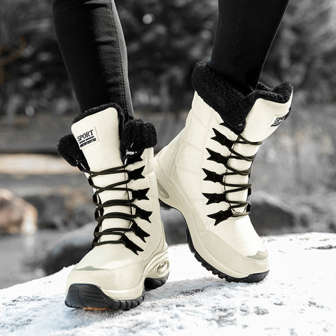Women Boots Keep Warm Quality Snow Boots Ladies Lace-up Comfortable Waterproof Booties