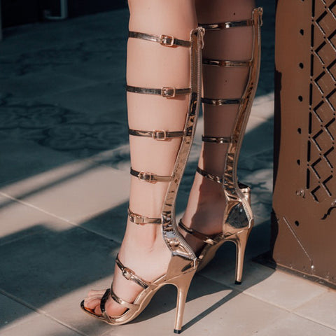 Hot Gold Gladiator Sandals Women High Heels Gladiator Sandals Women Knee High Party Shoes Woman