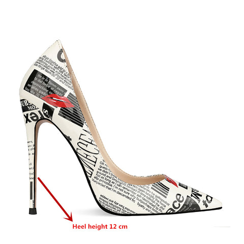 Fashion Sexy Banquet High Heels Hip Hop Letters Graffiti Shallow Mouth Pointed  Stilettos