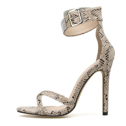 Fashion High Heel Women Sandals Rhinestone Crystal Heel Ladies Shoes Buckles Design Party Open Toed Sandals