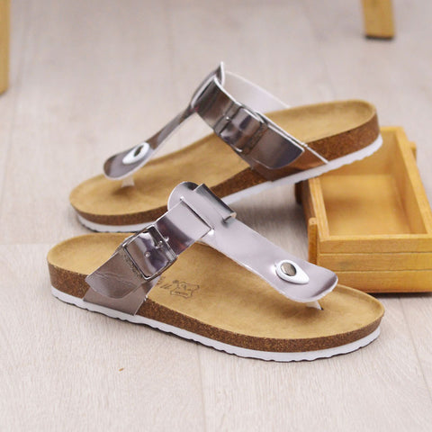 Women Trend Flip-flops Cork Beach Pu Leather Female Shoes Three Strips Comfort Soft Lady Holiday Outside Sandals