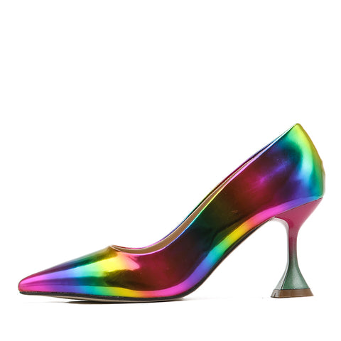 New Rainbow Color Women Pumps Cup Heeled Pointed Toe High Heels Weeding Shoes Spike Heel Pumps