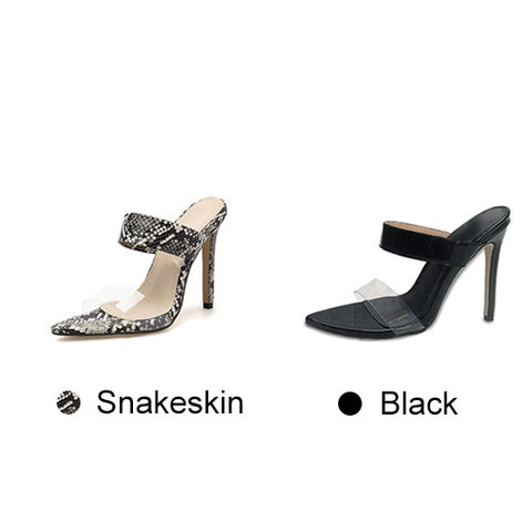 Women Sexy Snake Pattern Transparent Pvc Band Sandals Outdoor Thin High Heels Slippers Slides Fashion Party Shoes