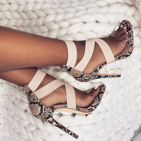 Belt Patchwork Stretch Fabric High Heels Women Fashion Open Toe Dress Thin Heels Casual Transparent Sexy Party Wedding Shoes